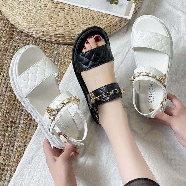 FOFU-(任2雙788)小香風平底金色鏈條裝飾涼鞋【02S13824】