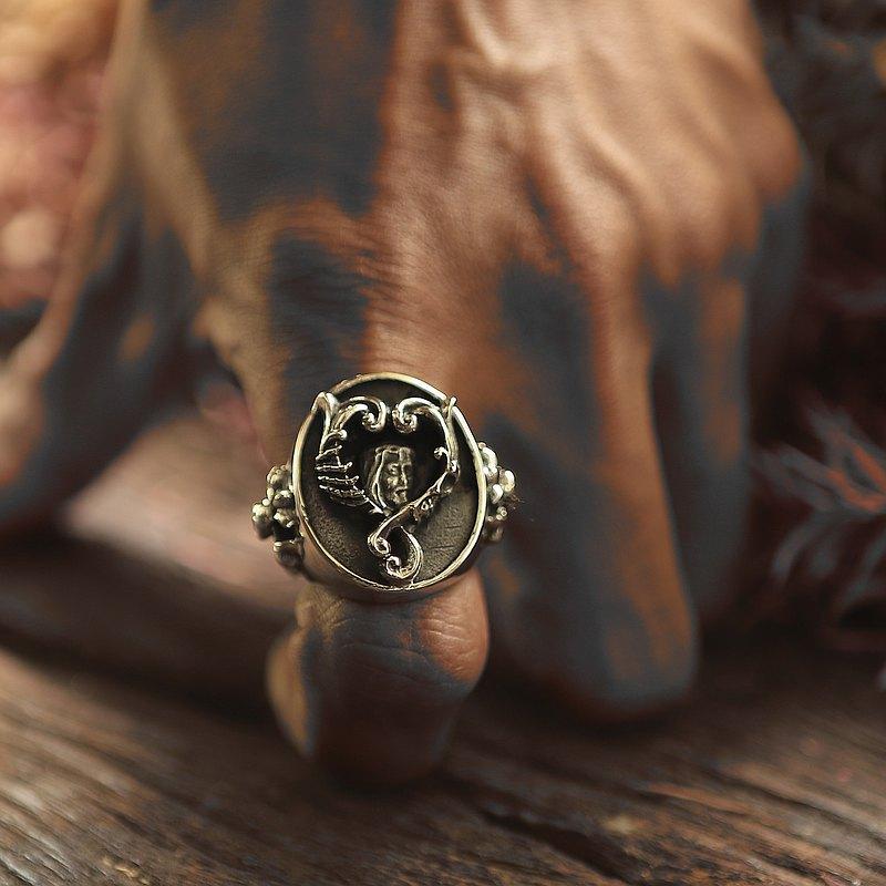 925纯银骑士风格男士哥特式耶稣戒指
