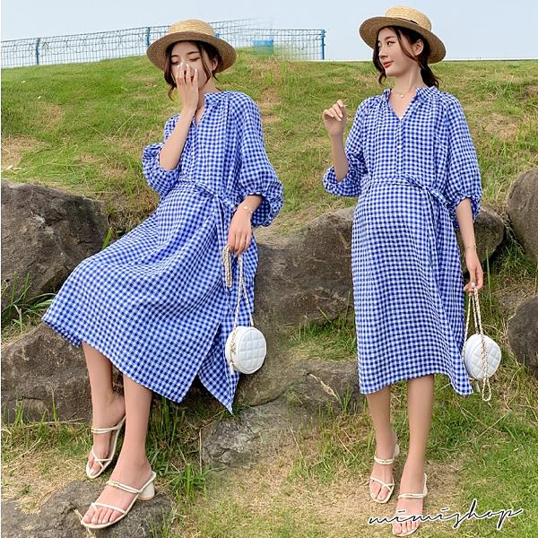 孕婦裝 MIMI別走【P521380】晴朗的天 立領格紋開扣哺乳衣 連身裙 孕婦洋裝