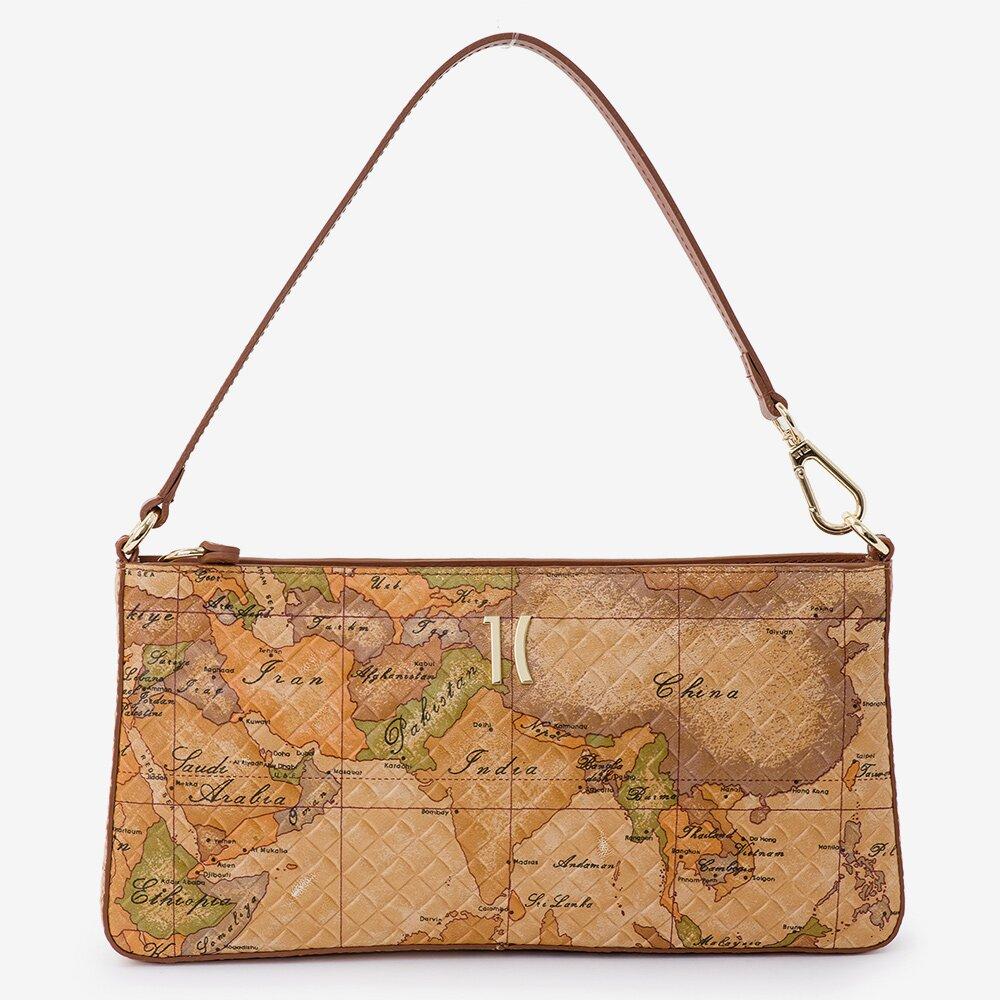 【Alviero Martini 義大利地圖包】地圖壓紋小羊皮手提肩揹腋下包-地圖黃