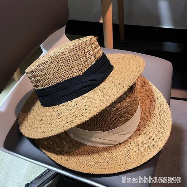 防曬帽 網紅同款夏天男女手工編織寬檐平檐禮帽遮陽防曬度假沙灘太陽草帽 星河光年