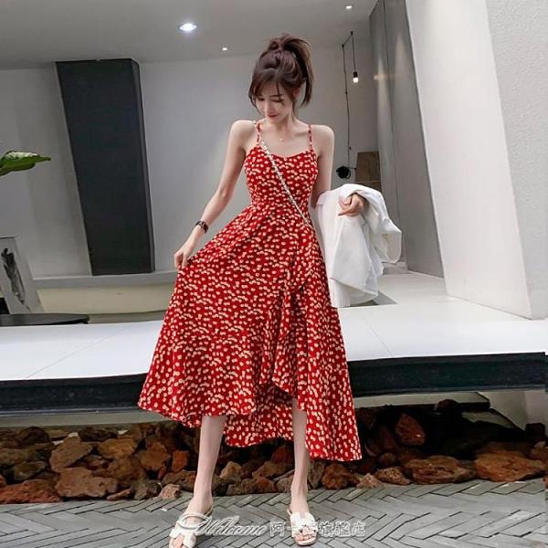 紅色v領碎花雪紡連身裙吊帶法式復古女夏小雛菊度假沙灘中長裙子【快速出貨】
