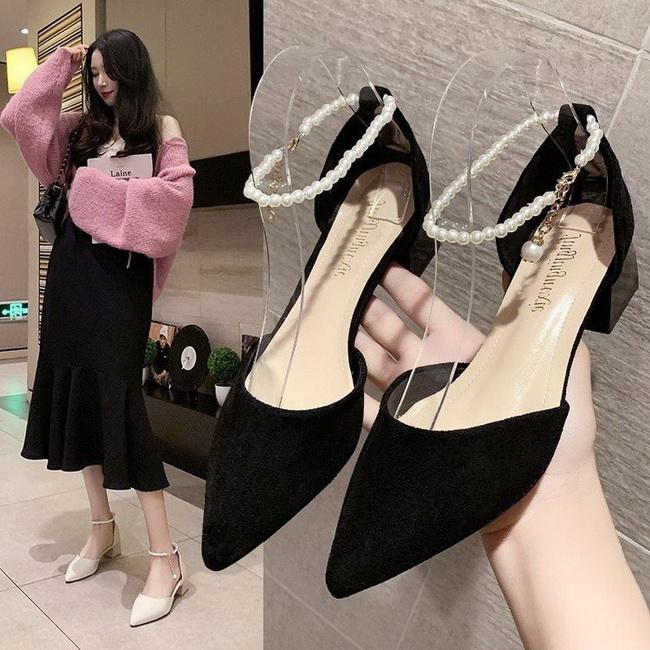 FOFU-(任2雙888)氣質優雅淑女風中跟粗跟珍珠裝飾高跟鞋【02S13817】