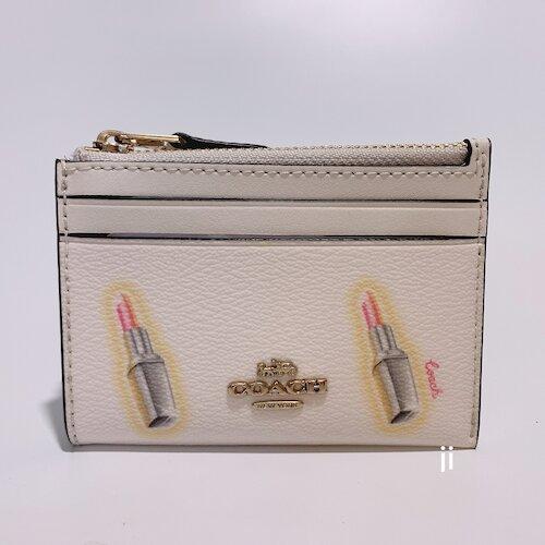 COACH 白色口紅塗鴉PVC材質金屬馬車鑰匙零錢包-  C2921-IMCAH