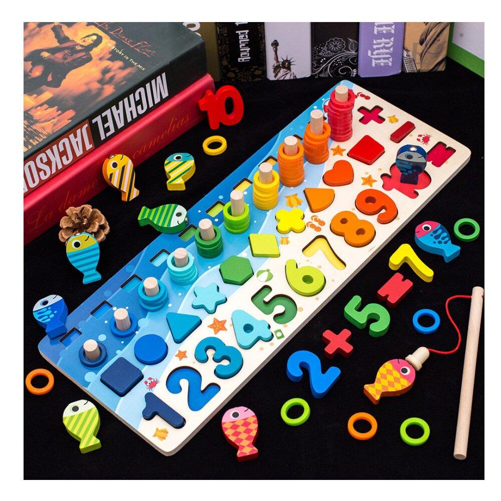 (經典木玩)海洋對應數字學習釣魚遊戲四合一多功能拼板(A096)