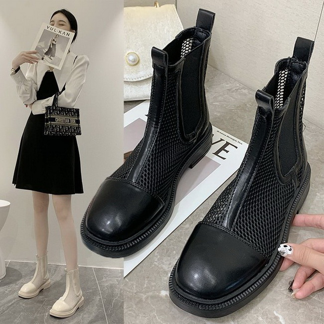 FOFU-帥氣個性低跟方跟網面透氣涼爽短靴【02S13782】
