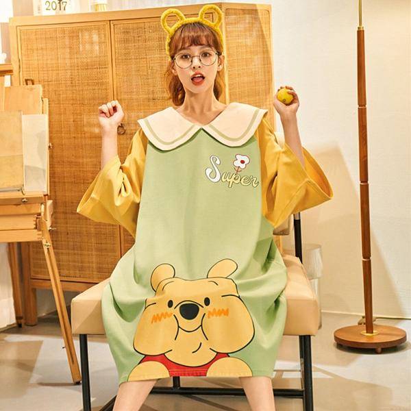 imaco旗艦店 圓滾滾蜂蜜熊100%棉寬鬆大碼睡裙