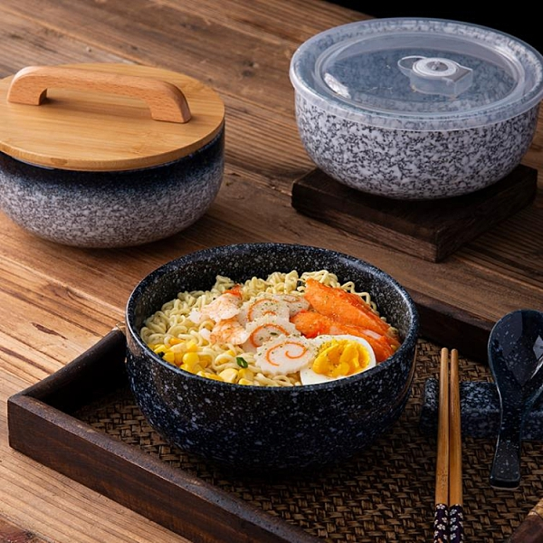 陶瓷日式大號螺螄粉碗學生宿舍用帶蓋泡面湯碗方便面食堂打包一人 【夏日新品】
