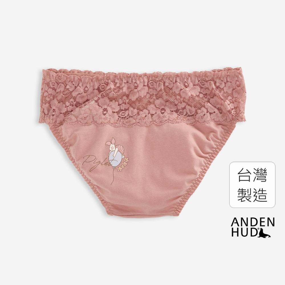 【Anden Hud】迪士尼粉紅季.抓皺蕾絲低腰三角內褲(梅粉-小豬氣球) 台灣製