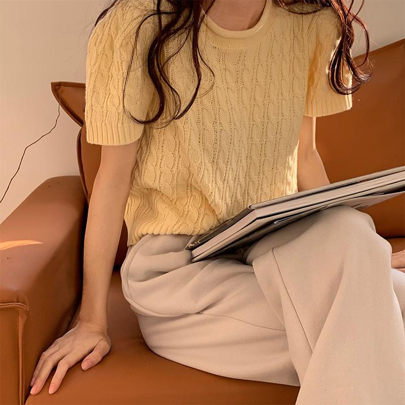 41903 早春韓版chic馬卡龍色針織短袖T恤上衣