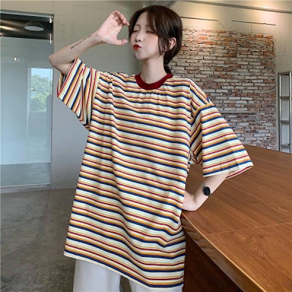 短袖T恤~條紋短袖t恤女半袖上衣.3F073愛尚布衣