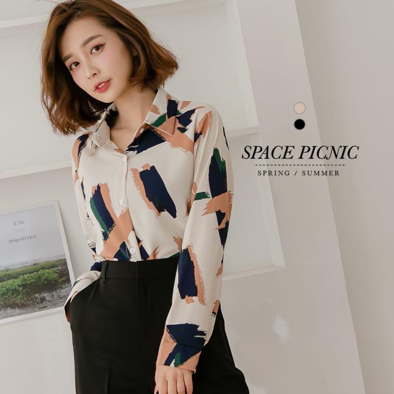 Space Picnic 個性筆刷雪紡長袖襯衫(現+預)【C21031027】