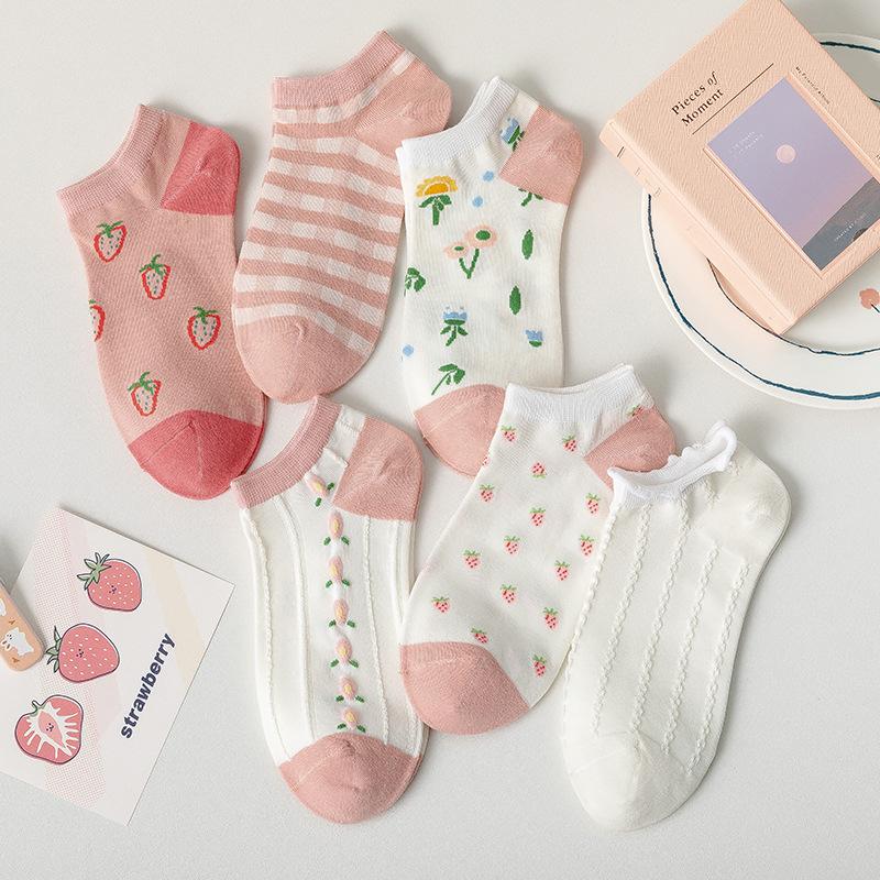 柳惠珠襪子 日系可愛船襪 女夏季新款小草莓短襪 韓國學生時尚潮女襪