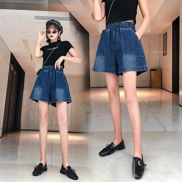 褲子 短褲 S-5XL實拍 牛仔短褲女高腰顯瘦闊腿熱褲韓風 大碼女裝5852.1F039.愛尚依人