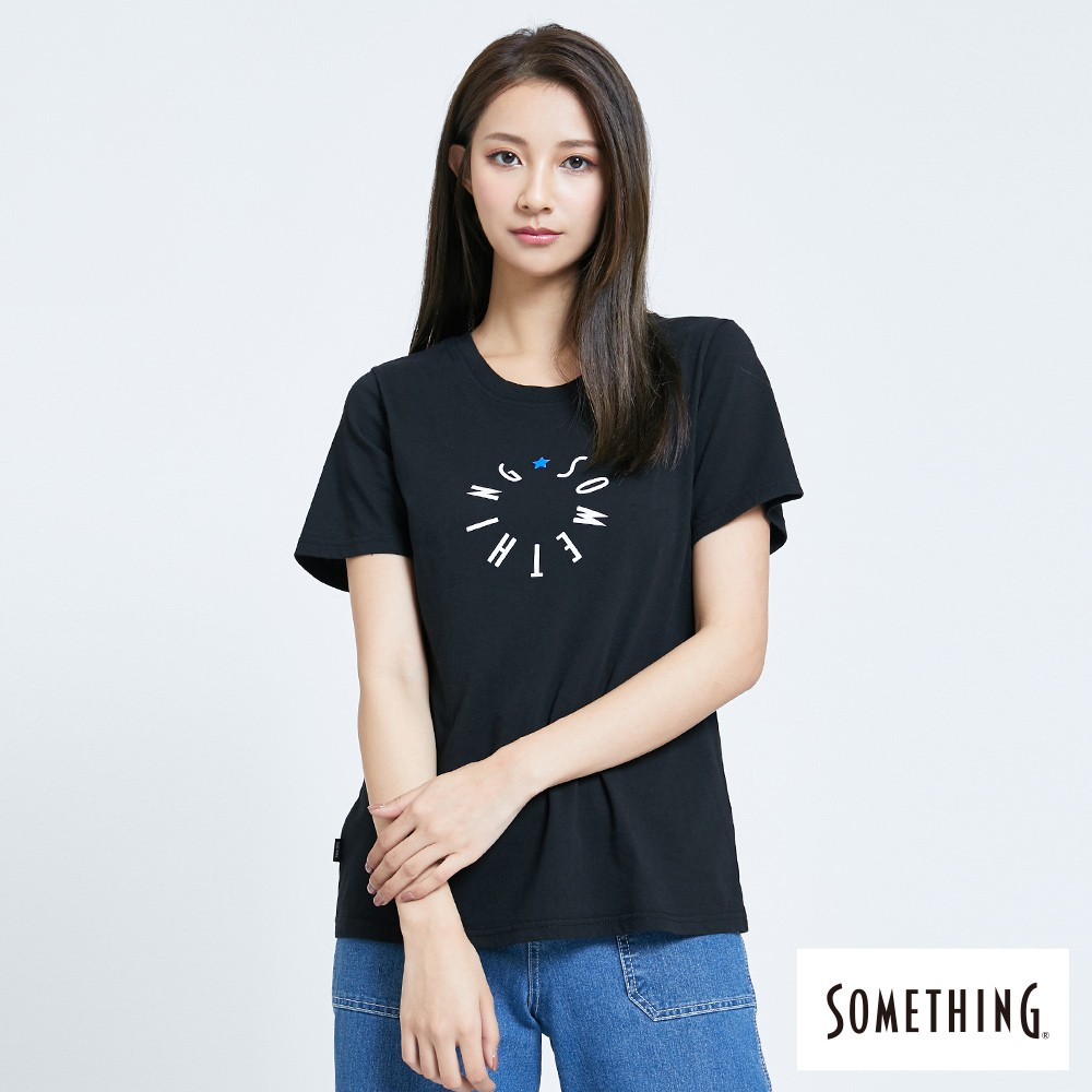 SOMETHING 圓形LOGO短袖T恤-(黑色)-女款