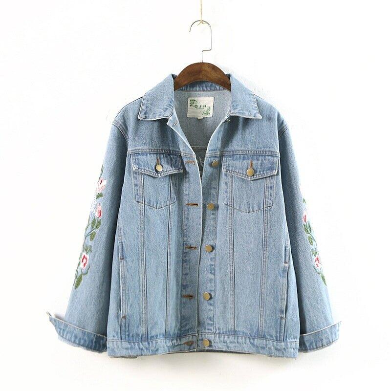 104-0224日系女裝2021春新品翻領刺繡花朵長袖寬鬆短款牛仔外套