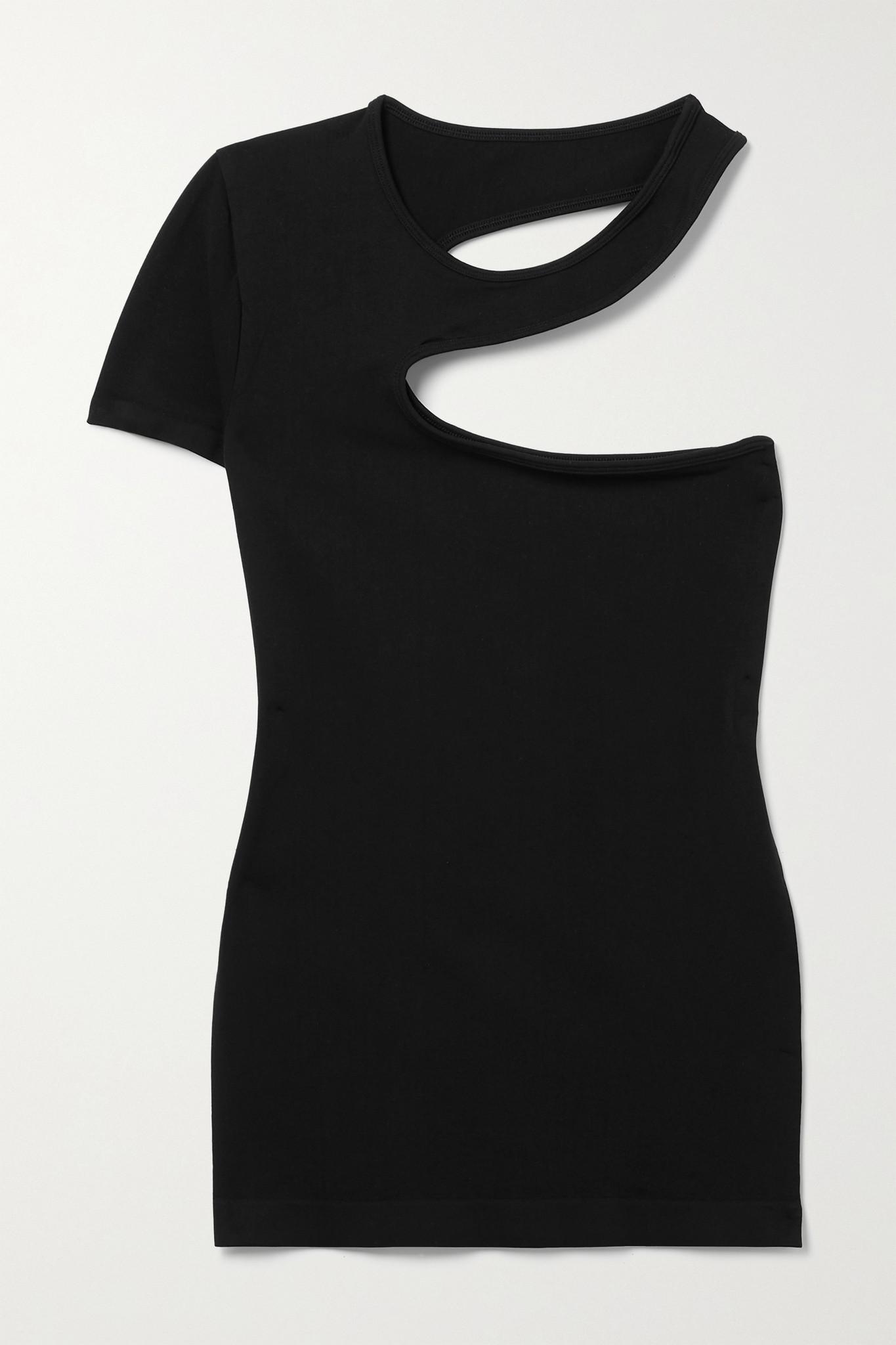 HELMUT LANG - 单肩挖剪弹力平纹布 T 恤 - 黑色 - XS/S
