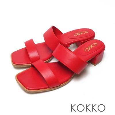 KOKKO極簡時髦方頭一字帶粗跟綿羊皮涼拖鞋紅色