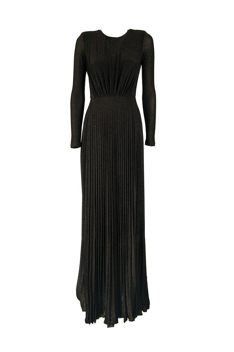 ELISABETTA FRANCHI Long pleated dress with slits