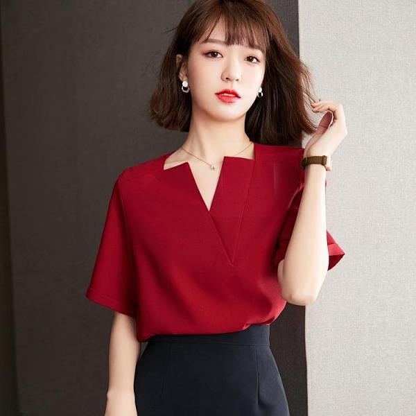 短袖雪紡襯衫S-2XL夏款法式復古短袖V領小衫女高端紅色襯衫T604紅粉佳人