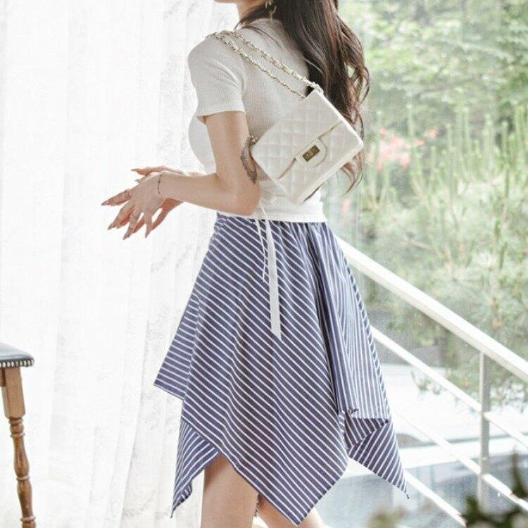 新款兩件套2021夏裝韓版氣質繫帶針織上衣時尚條紋裙套裝女