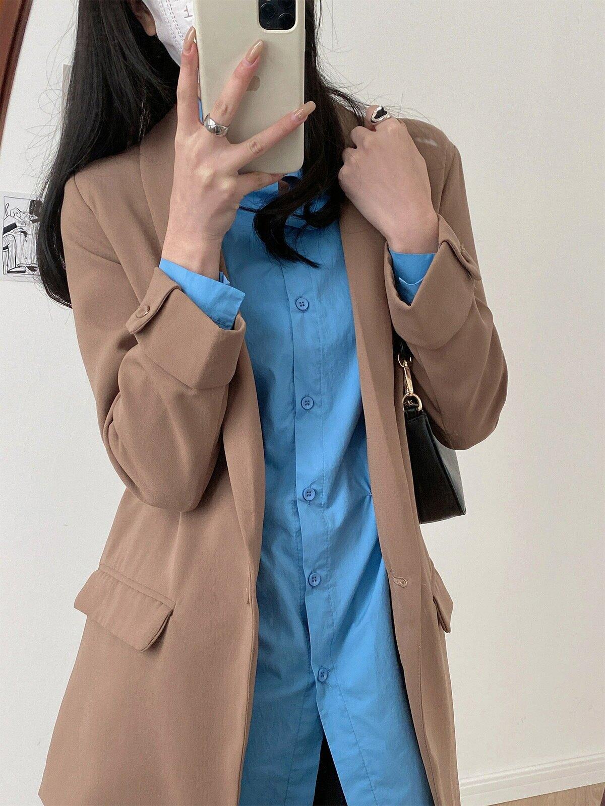 西裝外套女春秋休閒寬鬆一粒扣上衣時尚韓版小西服