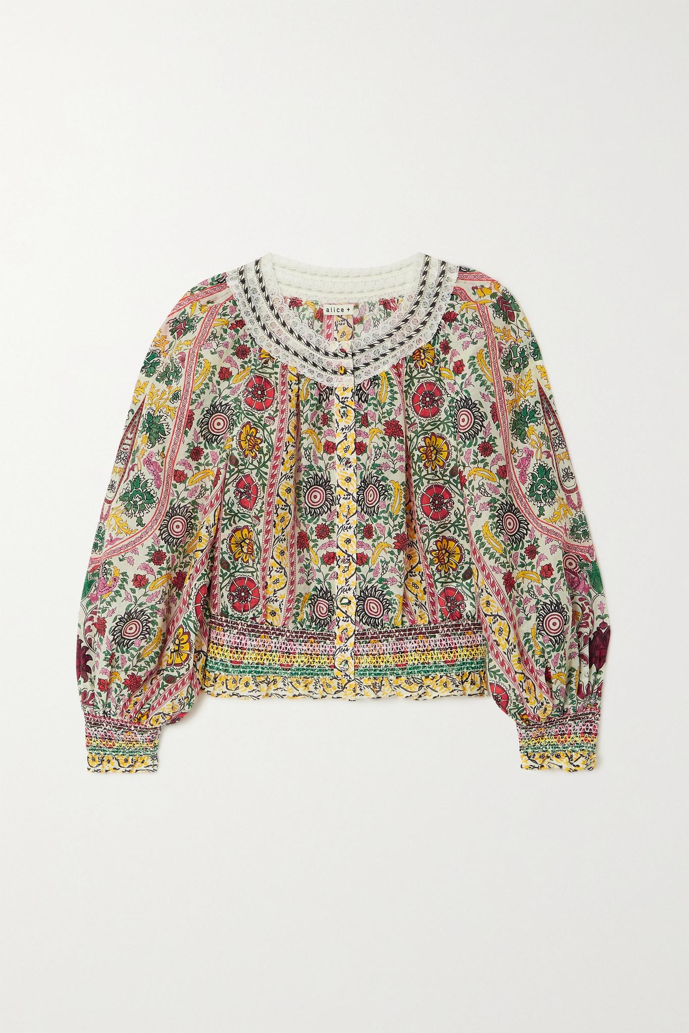 ALICE + OLIVIA - Cherelle 花卉印花棉丝混纺短款女衫 - 米色 - x small