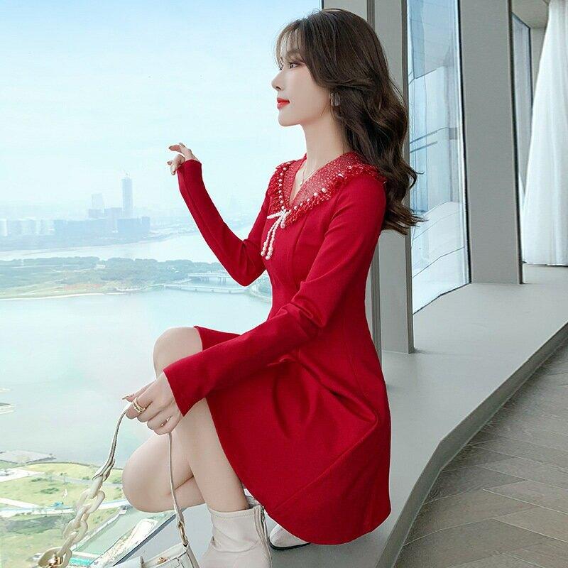 2021新款春季女裝氣質娃娃領打底裙子法式復古紅色拜年連衣裙