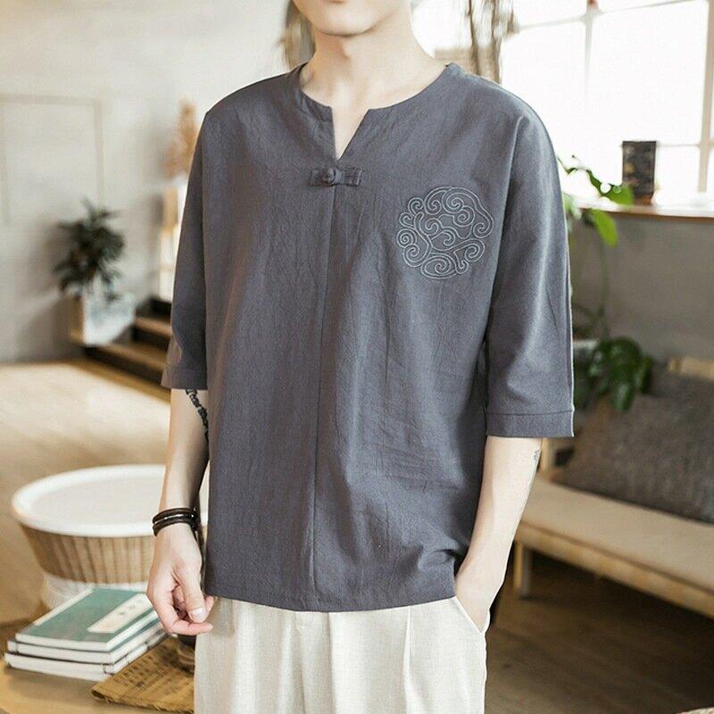 亞麻V領短袖T恤男夏季薄款棉麻上衣中國風純色體恤潮寬鬆半袖男裝