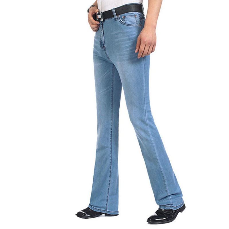 牛仔褲男 男裝淺藍色牛仔褲 彈力喇叭褲 男士微喇褲修身牛仔褲 更多的尺碼26-38 40