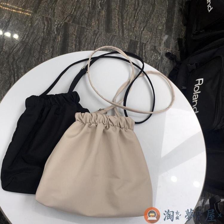 帆布收納袋百搭休閒迷你小包側背包斜挎包荷葉包女特惠促銷