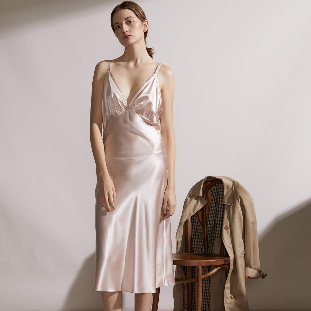 NotJustPajama真絲洋裝/22姆米奢華真絲吊帶裙/桑蠶絲睡裙居家服/法式浪漫時尚洋裝/婚禮禮服