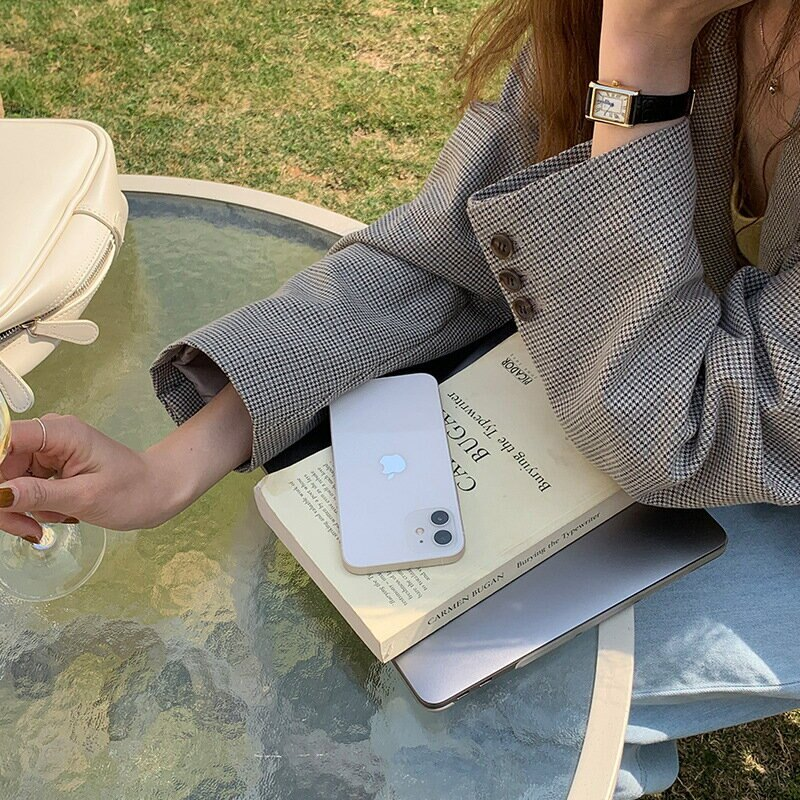 長袖千鳥格西裝女2021春季新款復古翻領寬鬆休閒西服外套