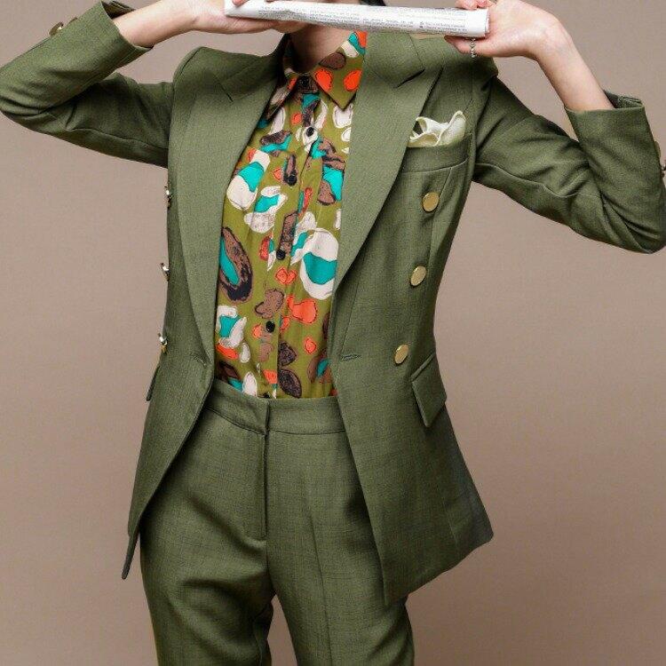 2021新款名媛風範優雅雙排扣修身西裝外套+修身西褲兩件套