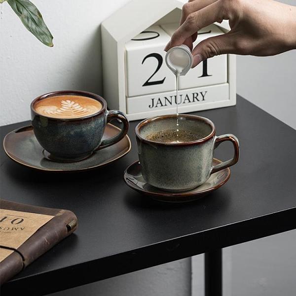 馬克杯 窯變咖啡杯碟套裝馬克杯復古辦公室水杯日式早餐杯陶瓷喝牛奶杯子 非凡小鋪 新品
