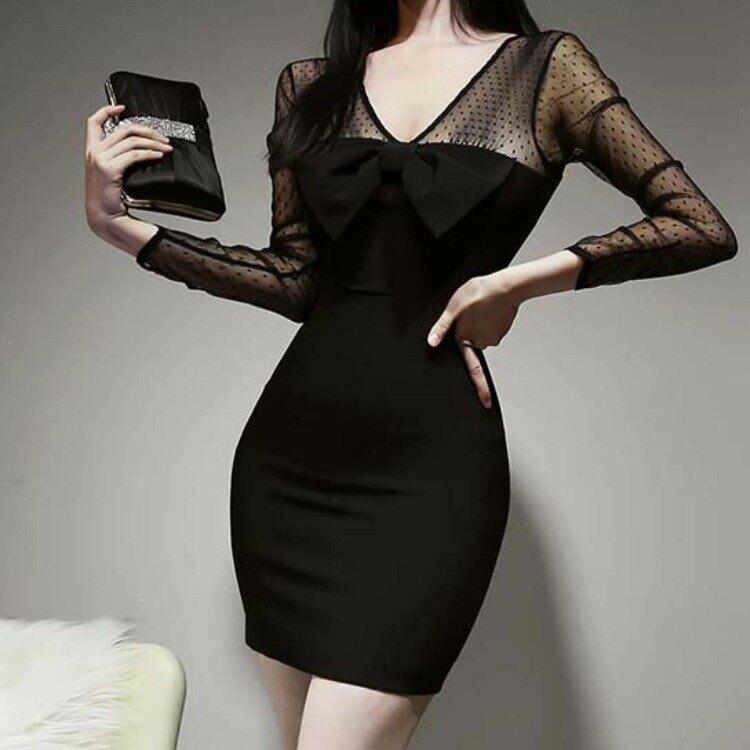 9578#2021韓版春裝新款網紗拼接性感透視修身連衣裙女包臀短裙