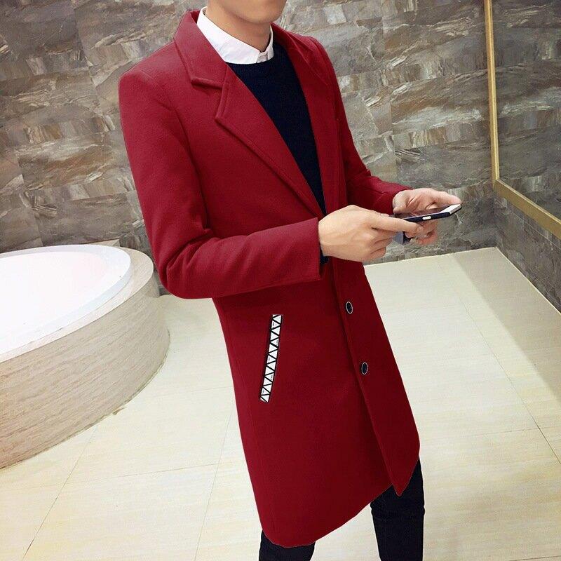 冬季加棉加厚呢料大衣男中長款呢子風衣上班學生毛呢個性韓版外套
