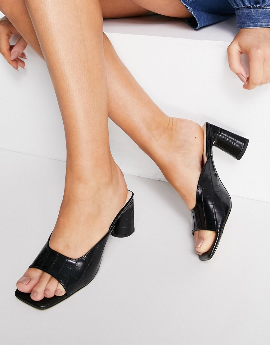 London Rebel cut out block heel mule sandals in black