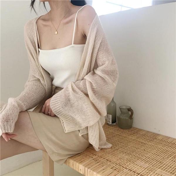 復古chic慵懶寬鬆薄款長袖針織開衫顯瘦防曬衣披肩外套外搭空調衫 韓國時尚 618