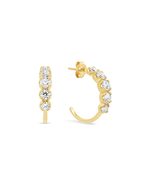 18k Gold Graduated Diamond Small Hoop Earrings