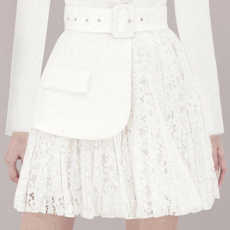 2021新款西裝裙子新款名媛氣質收腰白色長袖性感連衣裙