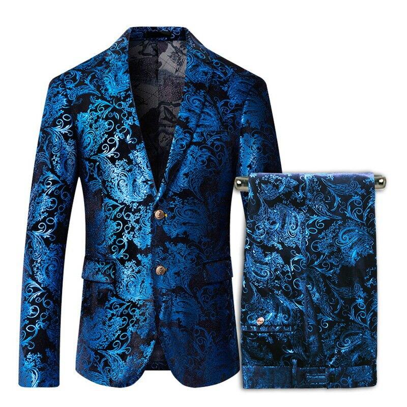 歐美英倫時尚亮色潮男修身西服兩件套裝男歌手主持人演出中大尺碼西裝