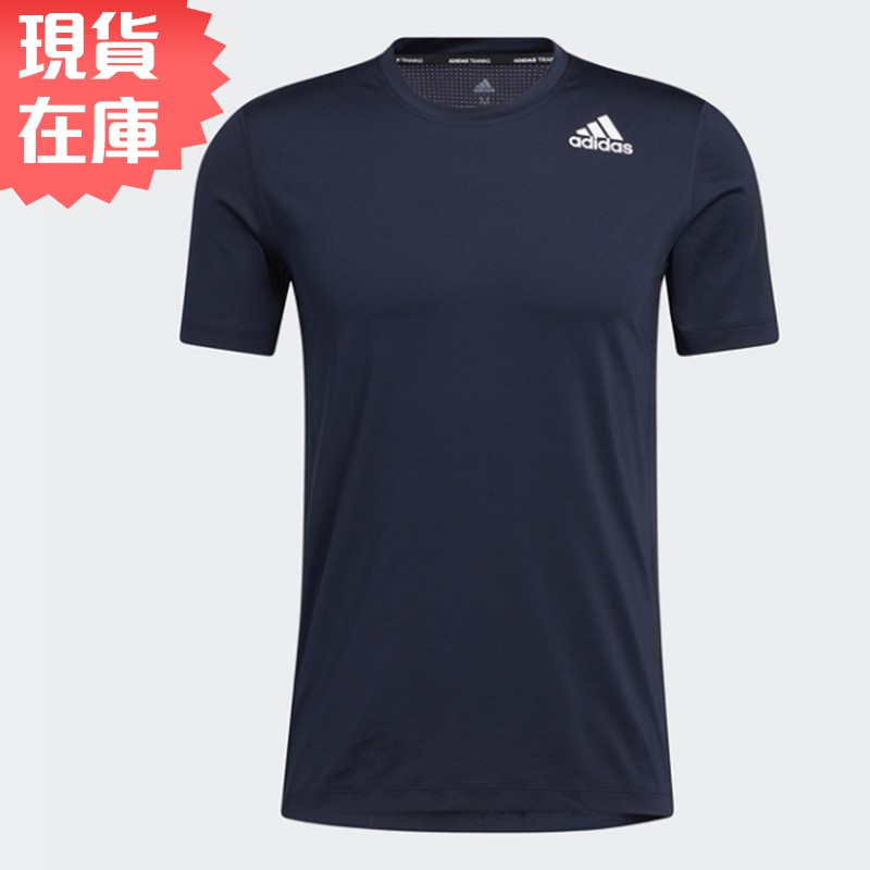 ADIDAS TECHFIT 男裝 短袖 慢跑 訓練 背面拼接網布 透氣 基本 藍【運動世界】GL9881【現貨】