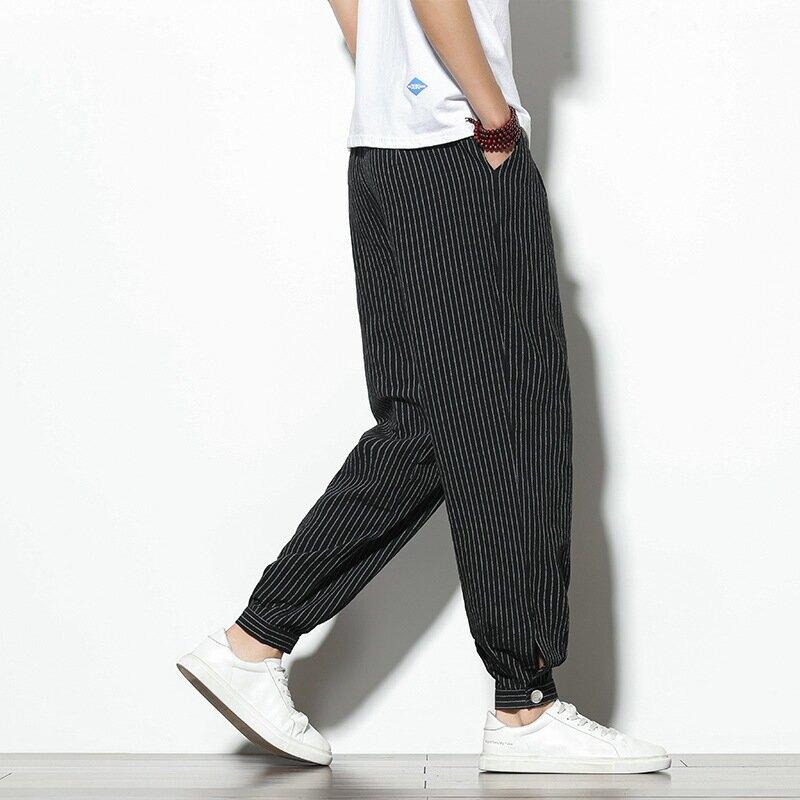 束腳褲男士潮牌哈倫褲中國風寬鬆條紋休閒長褲子鈕釦調節蘿蔔褲男