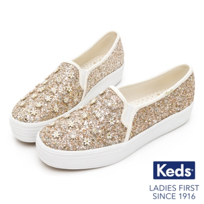 Keds x Kate Spade 聯名款 TRIPLE DECKER 閃耀花朵厚底懶人鞋-香檳金