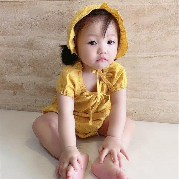 INS款嬰兒夏裝泡泡短袖連體衣女寶寶公主蘿莉包屁點點透氣爬服+帽
