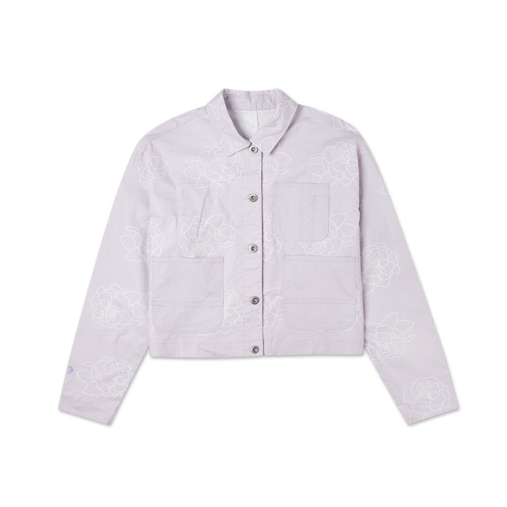 CONVERSE 女款外套 雙面夾克 休閒 短版 10022421-A01-淺紫色