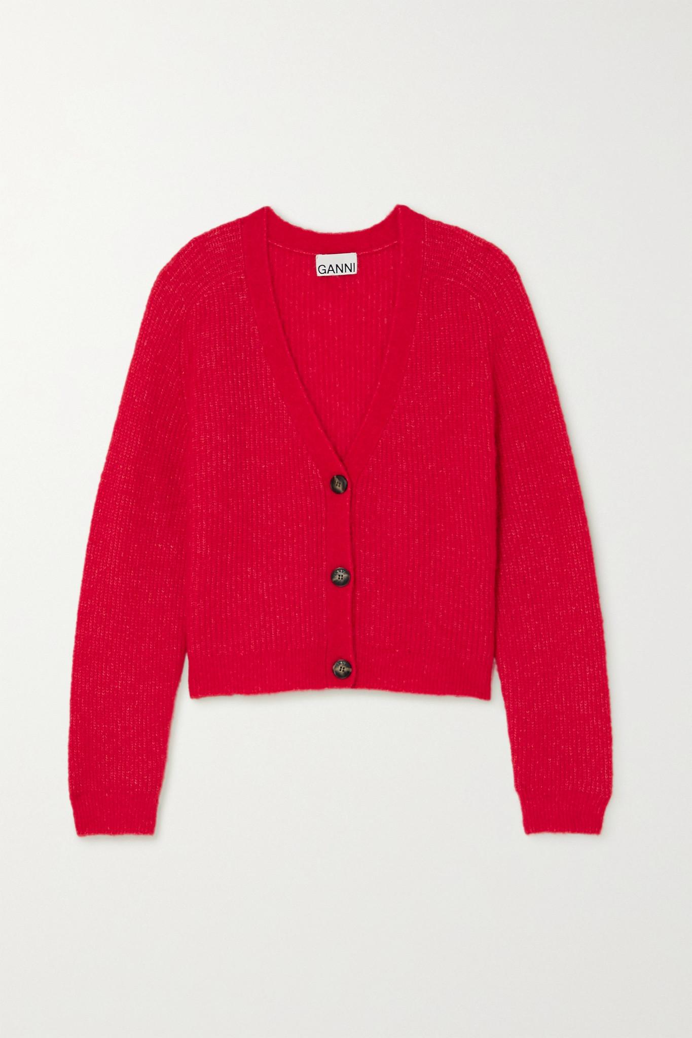 GANNI - 针织开襟衫 - 红色 - x small