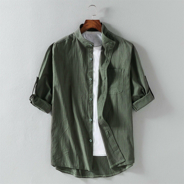 短袖襯衫男士韓版潮流帥氣七分袖襯衣夏季薄款五分袖寸衫薄款衣服
