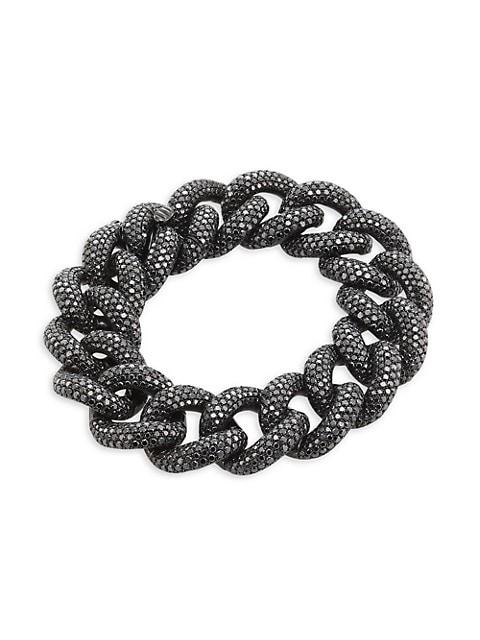 Link 18K White Gold & Black Diamond Pavé Chain Bracelet